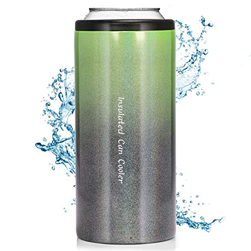 Slim Can Cooler Stainless Steel Double-walled Beverage Can Insulator for 12 Oz Slim Bottles Vacuum Insulated Can(Gradient Green)