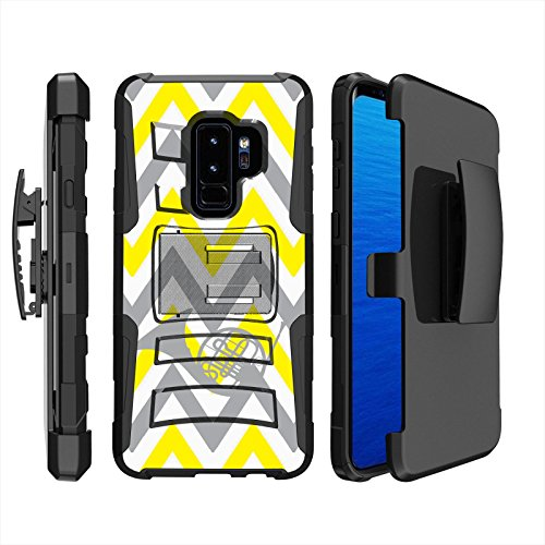 [Mobiflare] Armor Phone Case for Samsung Galaxy S9+ [Black/Black] Blitz Dual Layer Cover with Holster - [Chevron French Horn]