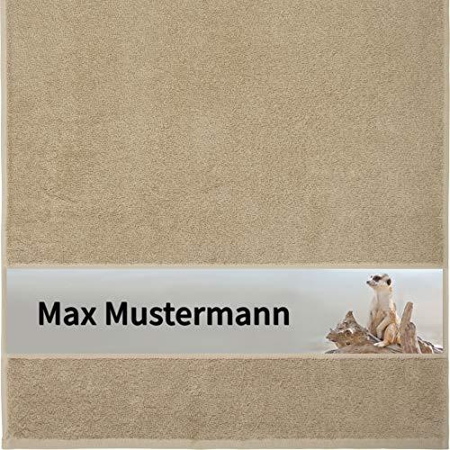 Manutextur Handtuch mit Namen - personalisiert - Motiv Tiere - Erdmännchen - viele Farben & Motive - Dusch-Handtuch - beige - Größe 50x100 cm - persönliches Geschenk mit Wunsch-Motiv und Wunsch-Name