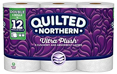 Quilted Northern Ultra Plush Toilet Paper, 6 Double Rolls, 6 = 12 Regular Bath Tissue Rolls, 154 3-P