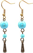 PHOEBE JEWELRY Turquoise glass beads and bronze teardrops on bronze hooks Journey Earring Turqoise