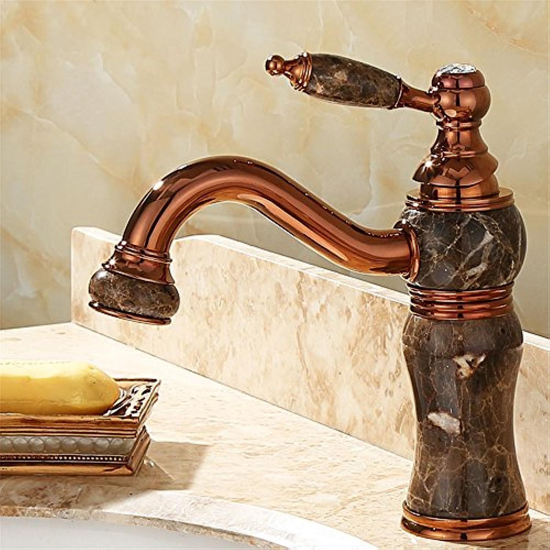 Bijjaladeva Wasserhahn Bad Wasserfall Mischbatterie WaschbeckenAlle Kupfer natürliche Jade Drehen Sie Den Wasserhahn auf Kalt und Whirlpool verGoldete Marmor Waschbecken G
