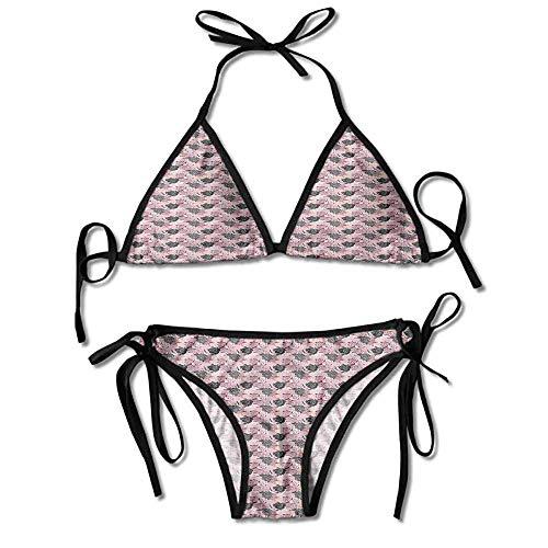 heefan Gepolstertes Neckholder-Bikini-Set und Blätter mit Pastell-Bikini 2-teilig