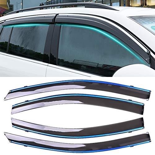 Simple y practico 4 PCS Ventana soleada Lluvia Viseras toldos Sunny Rain Guard for Toyota Vios 2014-2018 versión, Simple y práctico