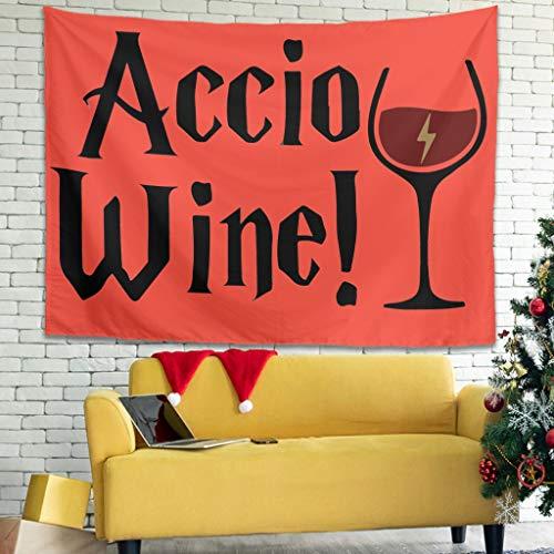 Ballbollbll Wizard - Tapiz para colgar en la pared, diseño de vino, para dormitorio, sofá, decoración de pared, color blanco, 40 x 59 pulgadas