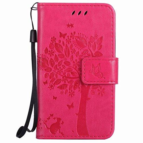 Yiizy Handyhülle für Microsoft Lumia 435 Hülle, Baum-Muster Entwurf PU Ledertasche Beutel Tasche Leder Haut Schale Skin Schutzhülle Cover Stehen Kartenhalter Stil Schutz (Rose Rot)