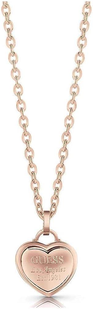 Guess ,collana per donna, in acciaio placcato oro rosa, con ciondolo a cuore. UBN28013