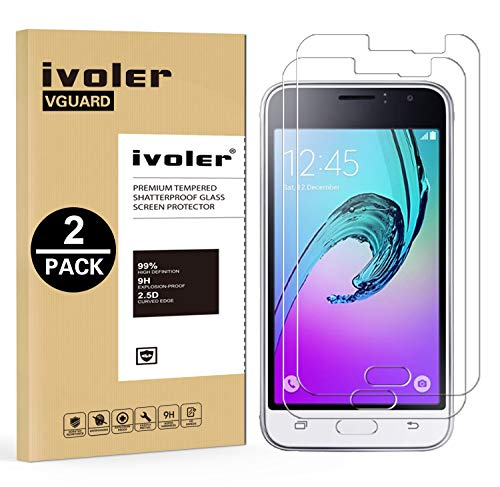 ivoler Kompatibel für Panzerglas Schutzfolie Samsung Galaxy J1 2016 [9H Festigkeit] [Anti- Kratzer] [Bläschenfrei] [2.5D R&e Kante], [2 Stücke]