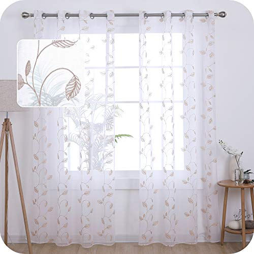 UMI. by Amazon Embroidered Leaves Pattern Sheer Curtains Eyelets Linen Effect Home Decorative Voile Curtains Super Soft Net Curtains for Living Room 55 x 54 Inch Linen Two Panels