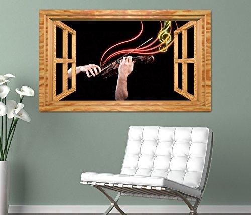 3D Wandtattoo Musik Geige Noten abstrakt Hände Fenster selbstklebend Wandbild Tattoo Wand Aufkleber 11M1554, Wandbild Größe F:ca. 140cmx82cm