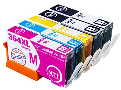 NTT 5 XXL kompatible Druckerpatronen als Ersatz für HP 364XL HP 364 HP364 XL 364XL Multipack Photosmart (2x Schwarz, 1x Cyan, 1x Magenta, 1x Yellow)