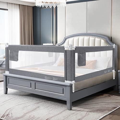 YIKANWEN Bettgitter, 200cm Bettschutzgitter Kinderbettgitter Babybettgitter,passend für Kinderbetten, Elternbetten und Alle Matratzen Massivholzbetten