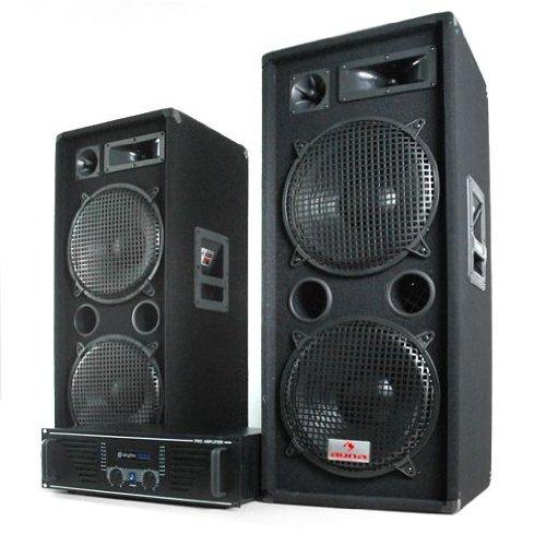 DJ set 'Pulsar Phuket' impianto audio completo (2 casse AUNA diffusori 1000 Watt totali, 1 amplificatore SKYTEC finale di potenza 1600 Watt, cavi per collegamento)