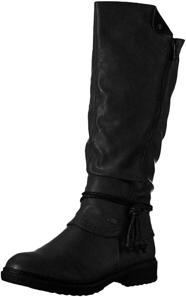Dainzuy Womens Knee High Winter Riding Wide Calf Boots Side Zipper Long Boots Motorcycle Low Heel Western Booties