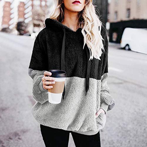 Mujer Caliente y Esponjoso Tops Chaqueta Suéter Abrigo Jersey Mujer Otoño-Invierno Talla Grande Hoodie Sudadera con Capucha riou (1-Negro, L)