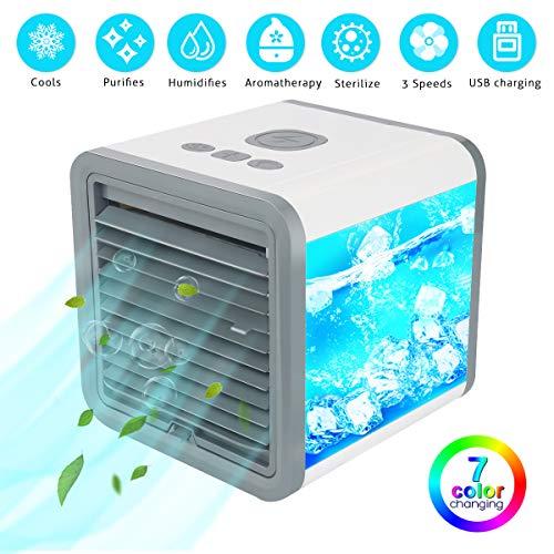 GIMIFY Mini Mobile Klimagerät Tragbare Klimaanlage 5 in 1 Luftkühler Mini Luftbefeuchter Luftreiniger für Büro und Zuhause + 3 Geschwindigkeiten + 7 Farben LED + USB