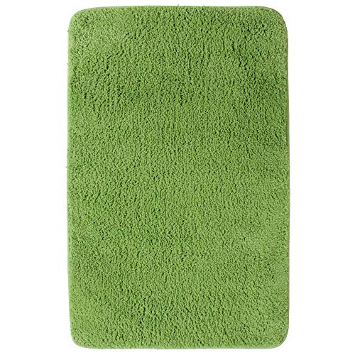 Badematte Lasalle 70 x 120 cm grün - Rutschfester Badteppich - Weicher und Kuscheliger Hochflor Badvorleger - 1200 g/m² ÖkoTex100 Maschinenwaschbar