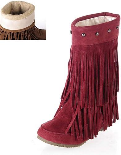 ZHRUI Les Femmes enfilent des Bottes Confortables Confortables Confortables à mi-Mollet avec des Chaussures Chaudes d'hiver de Rivet pour Fashioon rue Girls Outdoor (Couleuré   Rouge, Taille   4 UK) d5c