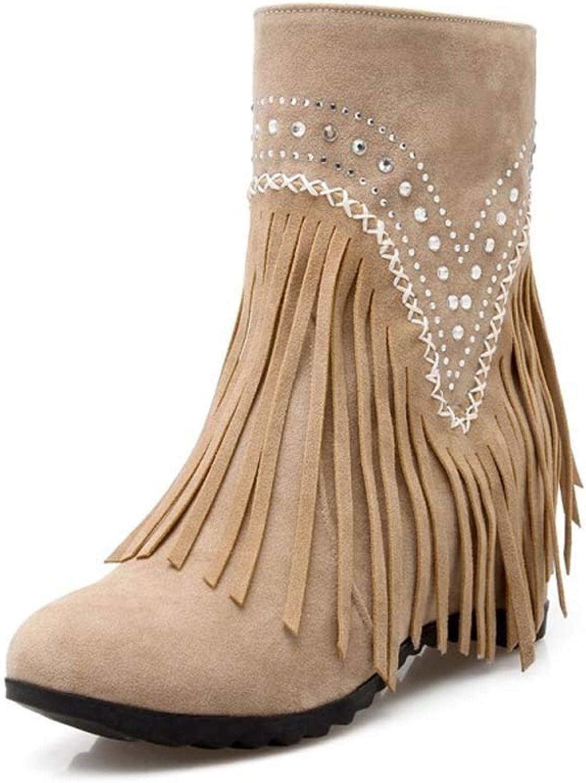Winter Boots Women Heels, Ladies shoes Fashion Ankle Solid Fringe Bootie Short Indoor Outdoor Ankle Booties Short Boots,Flesh,39EU