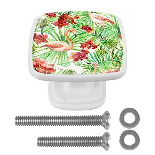 Juego de 4 pomos y tiradores cuadrados para armarios de cocina y baño, aparadores, cajones, contraventanas, flamencos, palmeras y flores exóticas