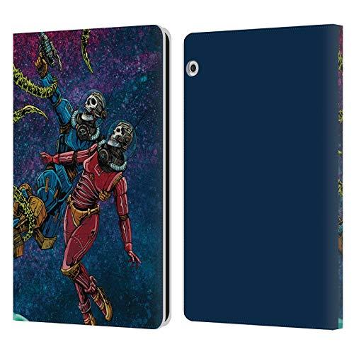 Head Case Designs sous Licence Officielle David Lozeau Astronaute Espace Couple Amour Grunge Coloré Coque en Cuir à Portefeuille Compatible avec Huawei MediaPad T3 10