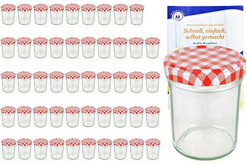 MamboCat 50er Set Sturzgläser 230 ml Hoch Deckelfarbe rot weiß kariert to 66 inkl. Diamant Gelierzauber Rezeptheft, Marmeladengläser, Einmachgläser, Einweckgläser, Gläser