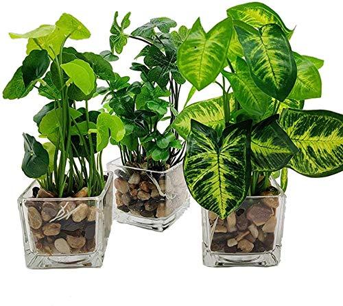 Hinleise Plantas artificiales de imitación de mesa verdes con macetas de cristal...