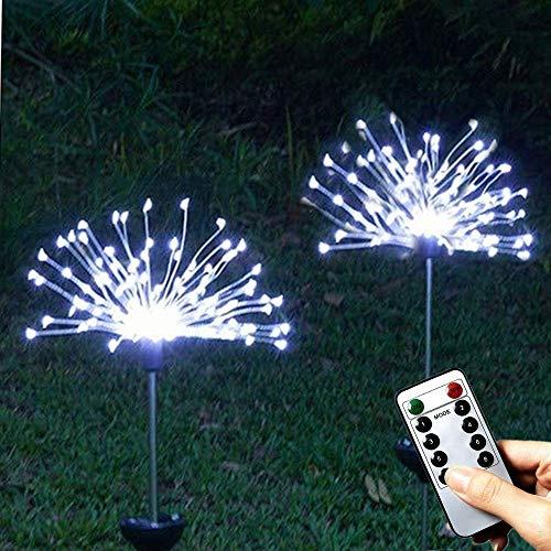 JLWDD Solarlampen Tuin Outdoor Stake Light, 2-pack 120 LED Solar vuurwerk Starburst Lights Solar Powered Light 8 Modi Waterdicht Twinkle Light voor bloemenbed Cool White