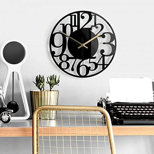 K&L Wall Art lautlose 30cm Große Küchenuhr Wanduhr Küche Glasuhr Wandbild Schwarz Glasbild Elegante Uhr mit Quarz Uhrwerk