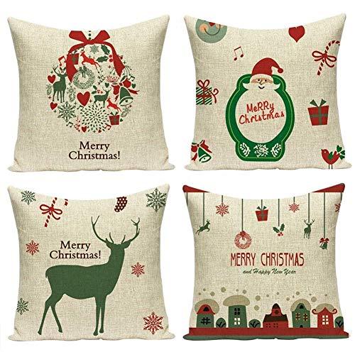 GJFDCP Creative Elk Christmas Tree Papá Noel Funda de cojín para Almohada, cabecera, sofá, Silla, cojín para decoración de Coche (4 Piezas de Funda de cojín + 4 Piezas de núcleo de cojín)