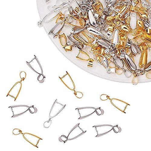 100 Piezas Enganches para Colgantes,Cierres para Collares,Ganchos de Collar,Cierre Bails Colgantes,DIY Accesorio para Fabricación,Colgante,Collar,Broches (20 x 8 x 5.5 mm)