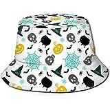 Sombrero de Cubo Unisex Vector de Halloween de Miedo Impreso Sombrero para el Sol al Aire Libre...