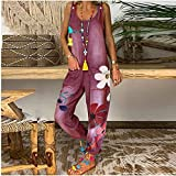 JFTMY Jeans de mujer verano otoño casual mono bolsillo decorativo correa pantalones moda estampado jeans pantalones de carga pantalones de moda (Color : C, Size : XXXL code)