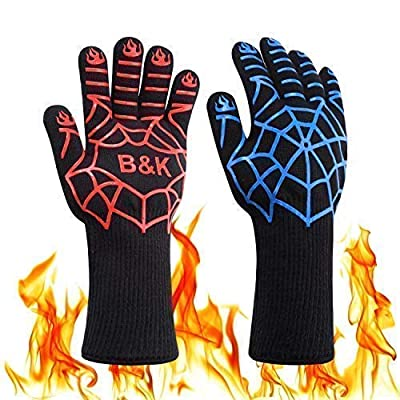 BKhome BBQ Grill Cooking Gloves - Oven Heat Resistant Barbecue Mitts Gloves for Frying, Baking, Charcoal Grilling, Smoker, Outdoor, Indoor(14 inches)