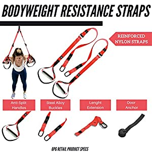 OPG Bodyweight Resistance Training Bundle 3 in 1   Home Suspension Trainer Straps with Door Anchor   Full-Body Workouts Kit for Home & Travel   Home Gym, Fitness Equipment Straps for Indoor & Outdoor