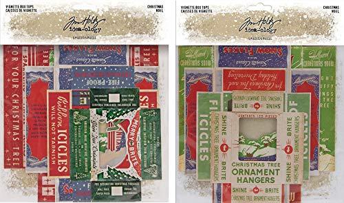 Tim Holtz Idea-Ology 2019 & 2020 Christmas Vignette Box Tops - Two Package Bundle