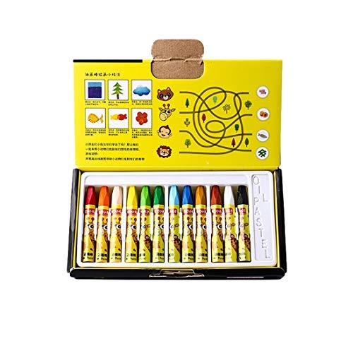 Öl-Pastelle für Kinder, für Künstler Anfänger Graffiti-Illustration Poster, Buntstifte-Set 12 Farben (7.5*1 cm)