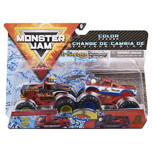 Monster Jam 2020 Color Change 1:64 Scale 2 Pacotes El Toro Loco Preto vs. Cyclops