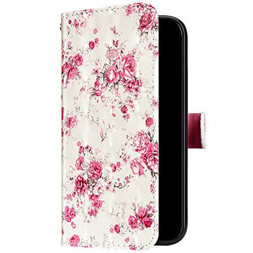 Uposao Kompatibel mit Samsung Galaxy Note 9 Handyhülle Bunt Bling Glitzer Glänzend 3D Muster Tasche Schutzhülle Brieftasche Leder Hülle Klapphülle Flip Case Kartenfächer Magnet,Rose Blumen