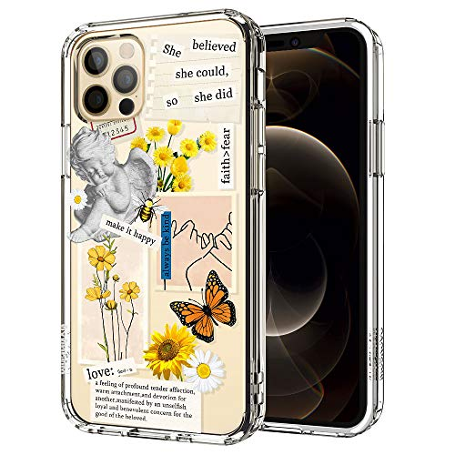MOSNOVO Case for iPhone 12 Pro/iPhone 12, Vintage Collage Sunflower Butterfly Slim Clear Case Design with Shockproof TPU Bumper Protective Cover Case for Women Girls