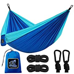 "🌳Lightweight & Portable: The super lightweight camping hammock is here. It is a smart choice for anyone looking for light travel without the bulk. The Parachute hammock's unfolded dimensions are 106x55"" (270x140cm), but its bundled dimensions are 2.7..."