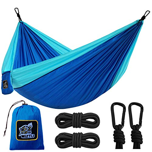 MIZTLI Hammock Camping Double & Single with All The Installations, Portable & Lightweight Travel Parachute Hammock, Outdoor, Indoor, Backpacking, Hiking & Survival