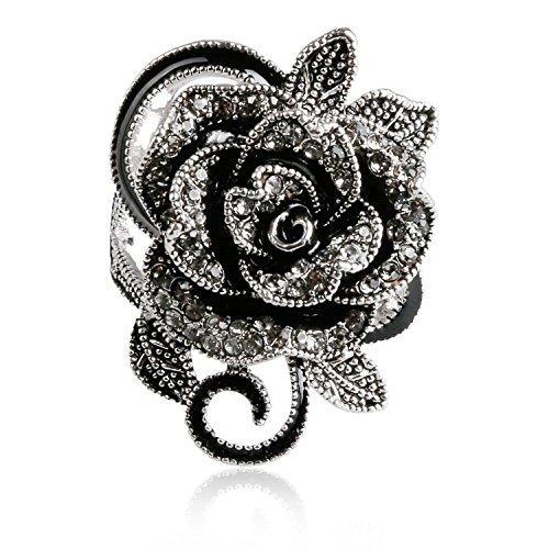 Blowin Anillo de Acero Inoxidable Gótico Vintage con Diseño de Rosas