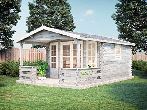 Alpholz Gartenhaus Lappland-A aus Massiv-Holz | Gerätehaus mit 44 mm Wandstärke | Garten Holzhaus inklusive Montagematerial | Geräteschuppen Größe: 380 x 574 cm | Satteldach