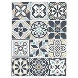 Planche de 12 Stickers Carrelage - Carreaux de Ciment - MOZICDRAFT - Dimensions d'un Sticker : 20 x 20 cm