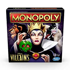 MONOPOLY GAME: DISNEY VILLAINS EDITION: Disney fans can enjoy playing this edition of the Monopoly board game that features the classic villains seen in Disney movies VILLAIN TOKENS: Play as a favorite Disney villain: Cruella, Jafar, Scar, Evil Queen...