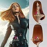 Película Capitán América Viuda Negra Naranja Scarlett Johansson Naranja Cabello recto/Play Play Tandemes Envío gratis WHY666