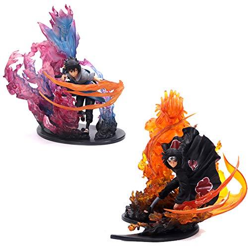 Naruto Uchiha Itachi & Uchiha Sasuke Japanse Anime Action Toy Figures PVC Model Collection Toys 22cm, rood met doos