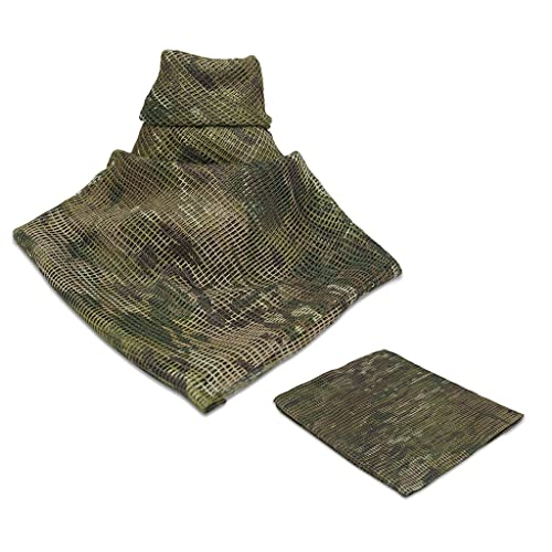 Ghileo Tactical Mesh Net Camo Scarf, Sniper Veil Military Neck Scarves, Woodland Camo Scarf for Hunting Shooting Wild Photography Military Outdoor Activities-Double-Sided Camouflage Pattern (CP)