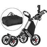 Caddytek facile pliage roue de chariot de golf 4 pousser / tirer et avec le sac d'entreposage, SILVER